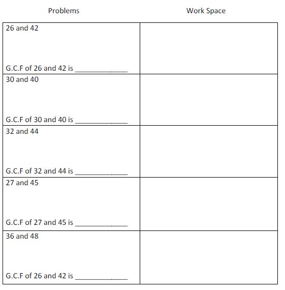Math 6 Miss Fredericks Classroom – Greatest Common Factors Worksheet